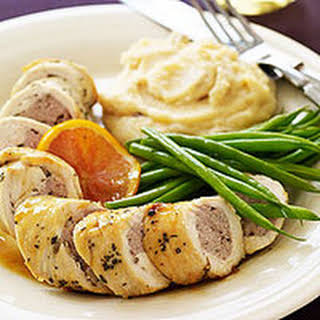 Sausage-Stuffed Chicken Breasts with Marsala and Cranberry-Orange Polenta.