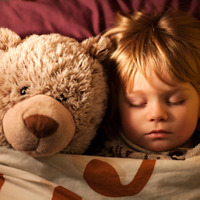 Go to sleep Jeffrey! by Claire Conybeare - Chinchilla Photography - Babies & Children Toddlers ( little boy, sleeping, toddler, cute, boy, teddy, bedtime )