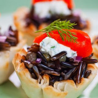 Wild Rice and Smoked Salmon Filo Tartlets.
