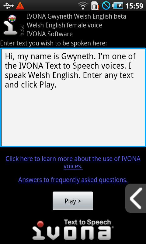 IVONA Gwyneth UK English beta - screenshot