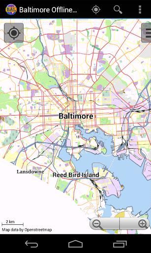 Baltimore Offline City Map