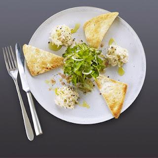 Crab mayonnaise with Melba toast & herb salad.