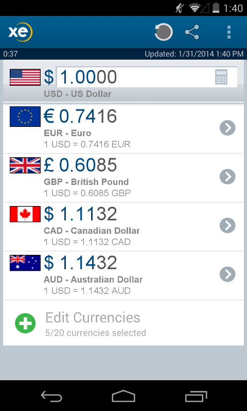 XE Currency Pro - screenshot