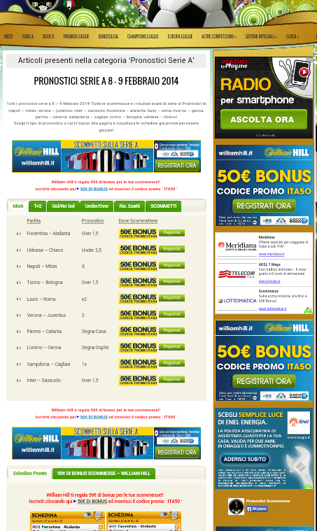 Pronostici Scommesse - screenshot