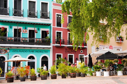 Colorful al fresco dining in Old San Juan, Puerto Rico.