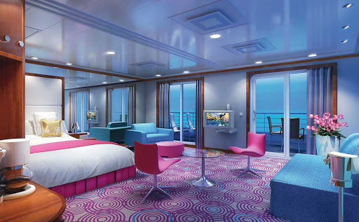 Norwegian-Pride-Of-America-Stateroom-Penthouse-Large-Balcony - Relaxing interiors and furnishings await up to six guests inside the Deluxe Penthouse with Large Balcony on Norwegian Cruise Line's Pride of America.