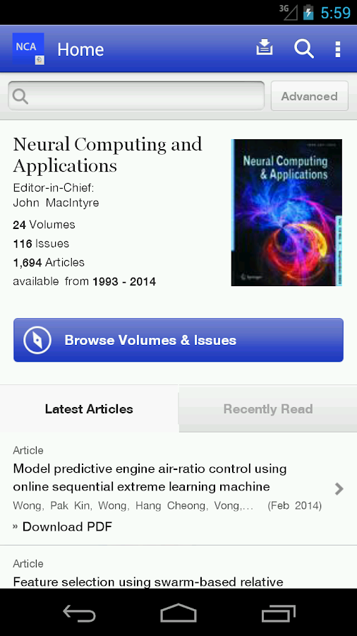 Neural Computing Applications- screenshot