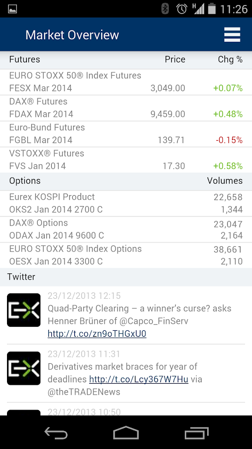 Eurex Mobile App- screenshot
