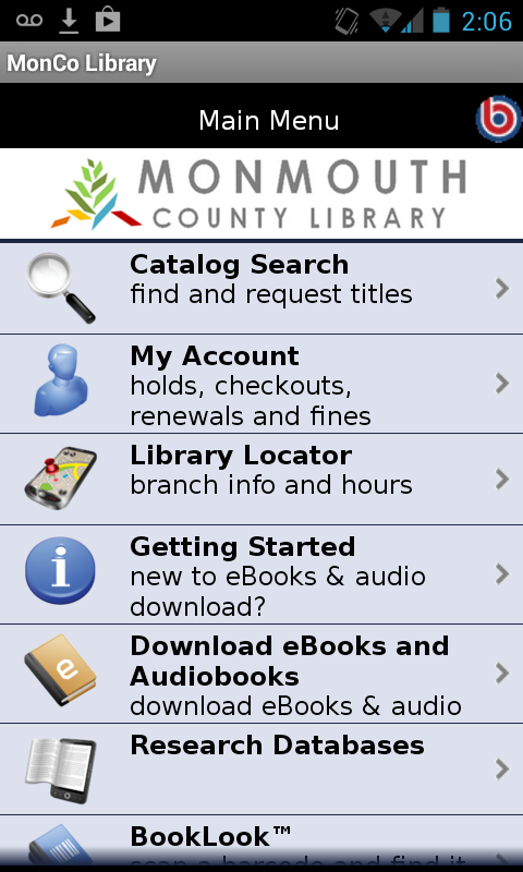 Monmouth County Library- screenshot