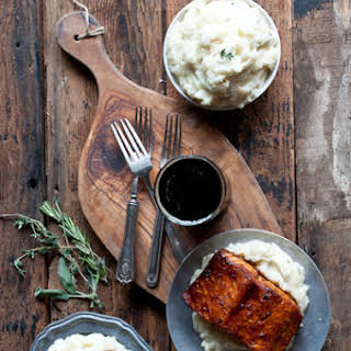 Molasses Stout Glazed Salmon with Herb IPA Mashed Potatoes.