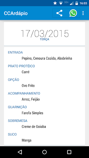 Cardápio RU CCA UFES