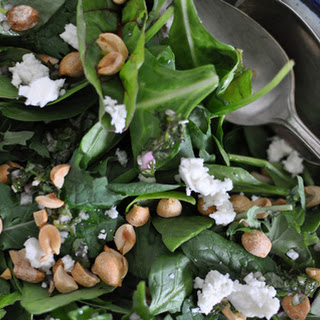 Kale Salad with Peanuts, Queso Fresco, and Mint-Apple Cider Vinaigrette.