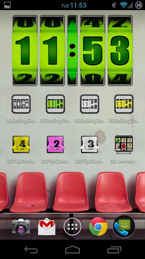 3D Rolling Clock GREEN - screenshot