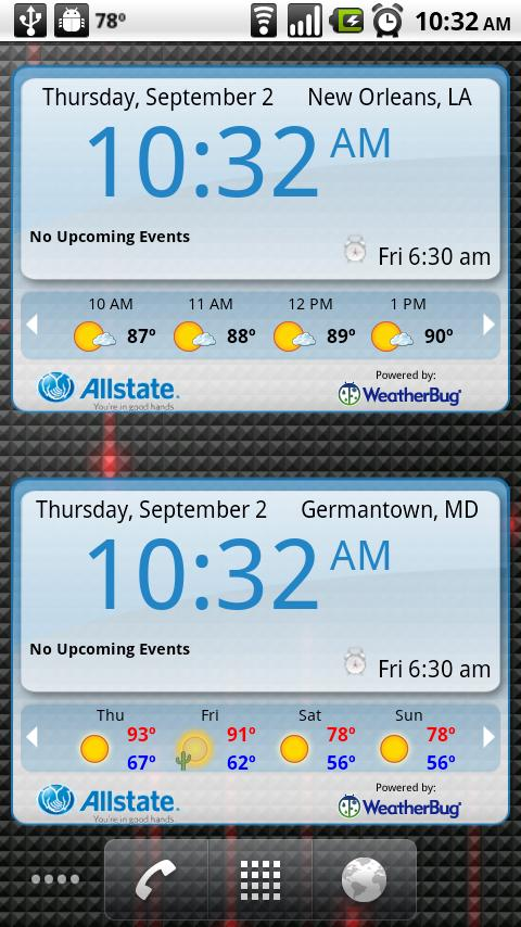 WeatherBug Time & Temp widget - screenshot