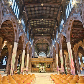 Here is a photograph taken from inside Manchester Cathedral.  Located in Manchester, Greater Manchester, England, UK. by Michael D Beckwith - Buildings & Architecture Places of Worship