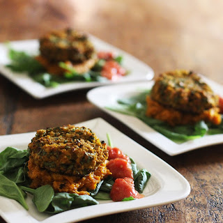 Spicy Chickpea and Spinach Burgers with Mashed Sweet Potato and Raw Tomato Relish - Vegan, Gluten Free