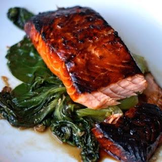 Honey-Soy Glazed Salmon with Bok Choy.