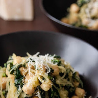Spaghetti Squash with Garlicky Kale and Chickpeas