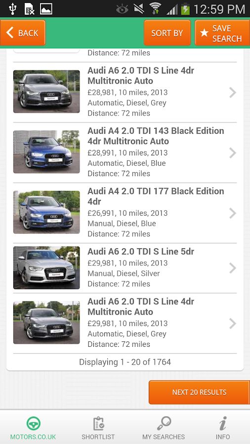 Motors.co.uk car search - screenshot