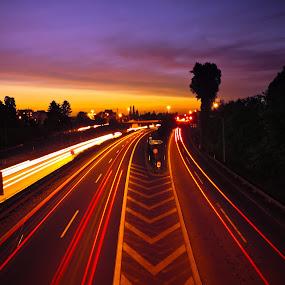 Rushing back home by Christian Tiboldi - City,  Street & Park  Street Scenes ( highway, street, street long exposure, night, long exposure, street photography, long time exposure,  )