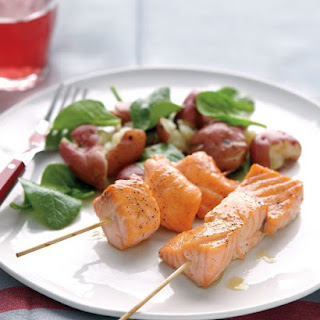Salmon Skewers with Smashed Potatoes Recipe