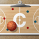 Basketball coach's clipboard icon