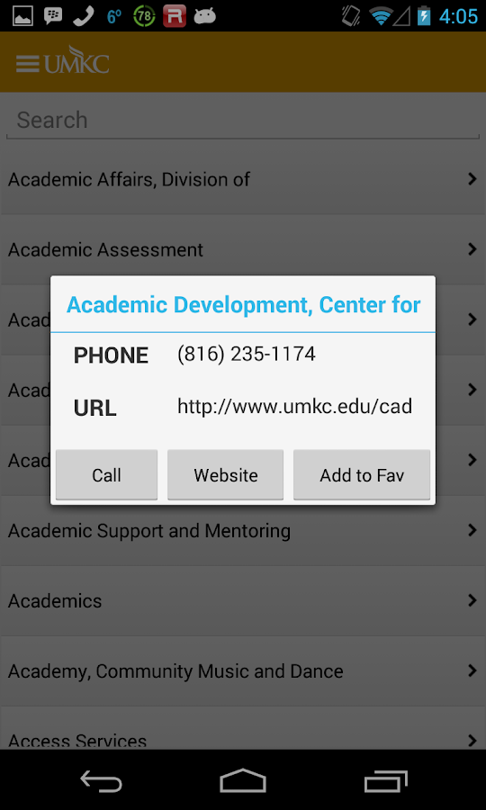 UMKC - screenshot