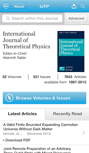 Intl J of Theoretical Physics