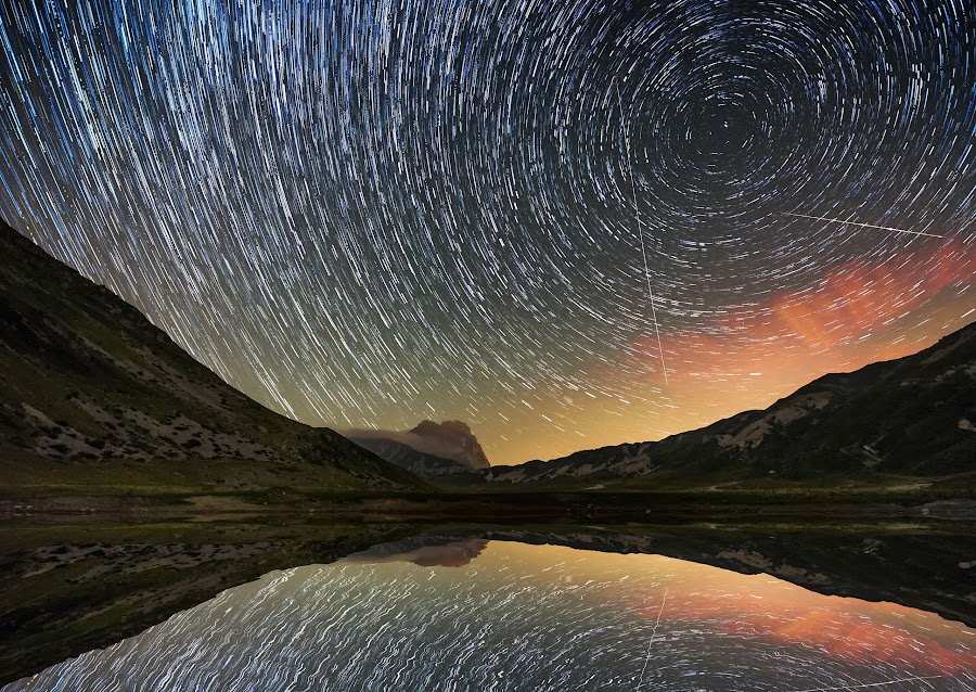 by Marco Carotenuto - Landscapes Starscapes ( startrail, mountain, sky, stars, landscape )