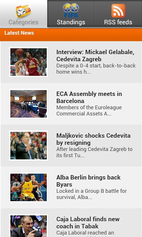 Sport news - screenshot