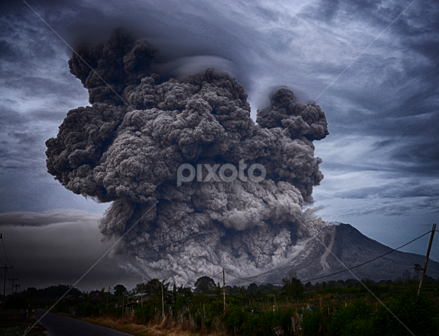 Sinabung Volcano by Yosh Ginsu - Landscapes Mountains & Hills ( storm, stormy, weather )