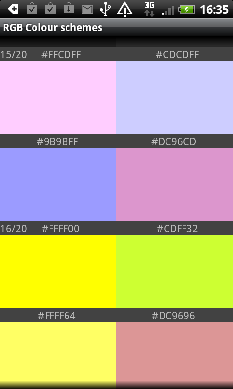 RGB Color schemes- screenshot