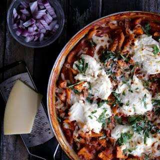 Barbecue Chicken Pizza Skillet Lasagna.