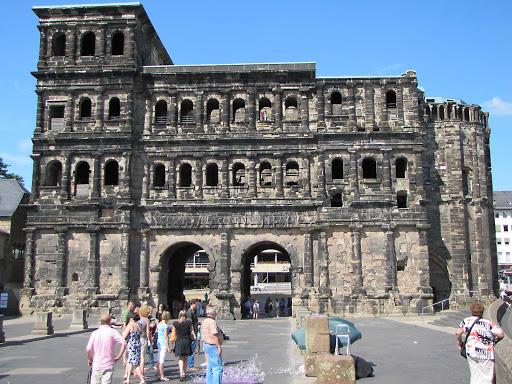 Historic buildings of Porta Nigra in Trier, Germany.