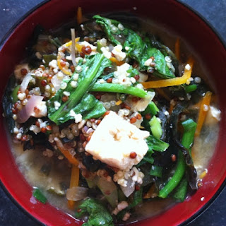 Red Quinoa And Tofu Miso Bowl.