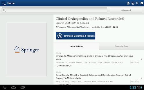 Clinical Orthopaedics Rel Res® - screenshot thumbnail