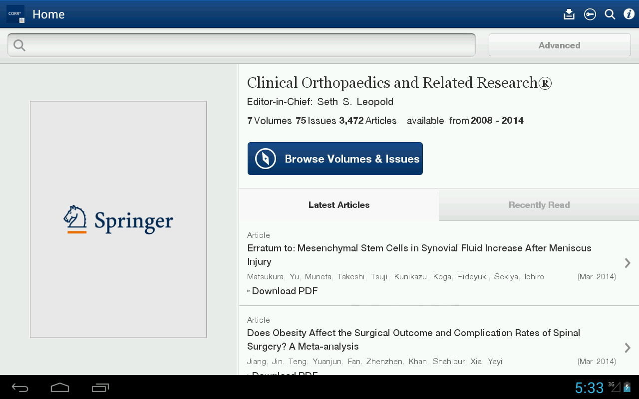 Clinical Orthopaedics Rel Res® - screenshot