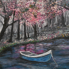 Spring Solitude by Rhonda Lee - Painting All Painting ( nature, art, rokinronda, scene, boat, painting, spring )