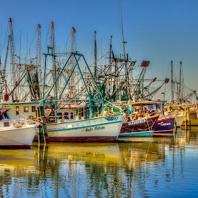 Waiting for Season by Jeannie Meyer - Transportation Boats ( reflection, shrimp, boats, shrimp boat, rusty pelican,  )