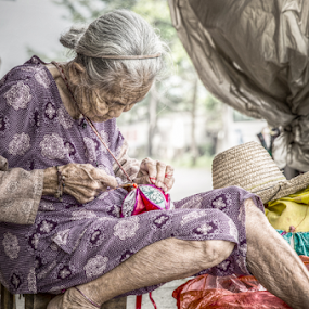 working by Happy Sugianto - People Professional People ( old, life, woman, souvenir, working,  )