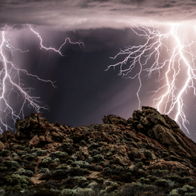 Passing storm by Craig Eccles - Landscapes Weather ( thunder, clouds, stsorms, lightning storm, news, beach, storm, lightning, event, weather, cloud, thunder storm, rocks,  )