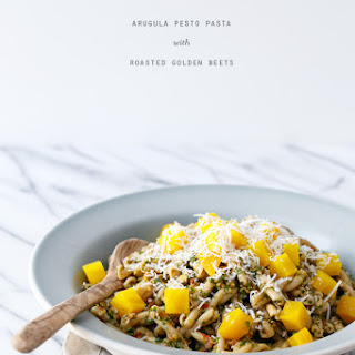 Arugula Pesto Pasta with Roasted Golden Beets.