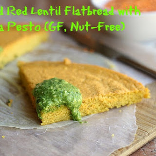 Curried Red Lentil Flatbread with Arugula Pesto (Gluten-Free)