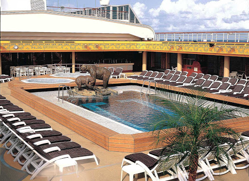 Holland-America-Flagship-Lido-Pool-Midship - At midship, the Lido Pool features a pair of bronze bears, part of the artwork specially commissioned for Holland America Line's ms Amsterdam.