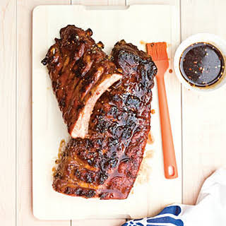Grilled Baby Back Ribs with Sticky Brown Sugar Glaze.