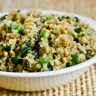 Quinoa Side Dish with Pine Nuts, Green Onions, and Cilantro.