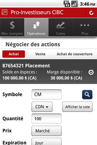 CIBC Mobile Brokerage - screenshot