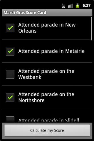 Mardi Gras Score Card - screenshot