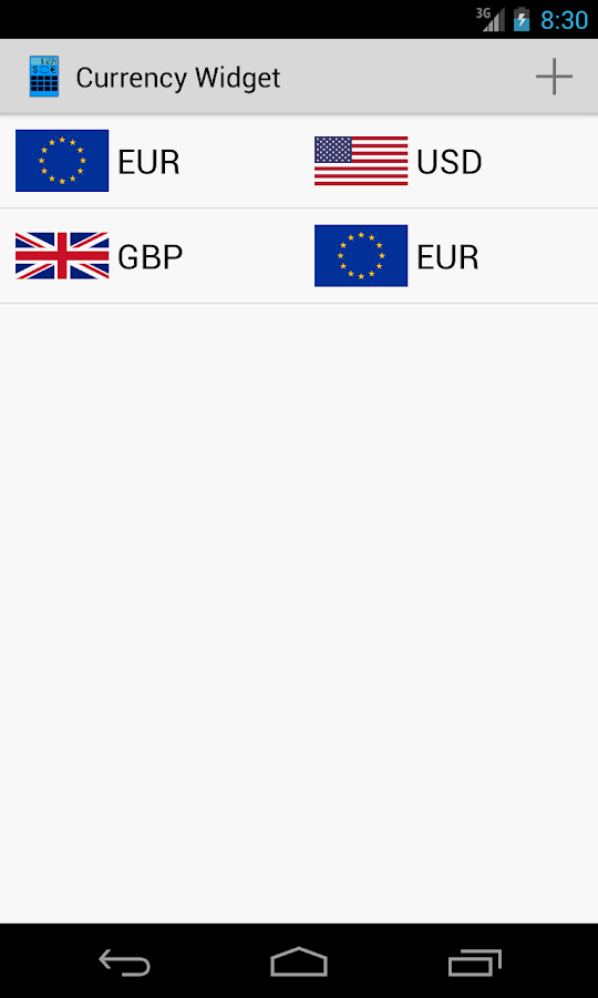 Currency Calculator Widget - screenshot