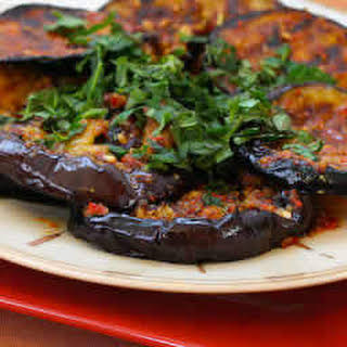 Spicy Grilled Eggplant Recipe with Red Pepper, Parsley, and Mint.